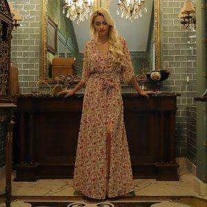 Aakaa long floral maxi dress women's small boho